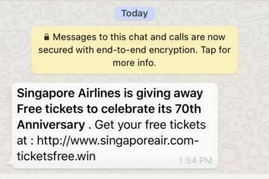 A WhatsApp message included a link to a website masquerading as SIA's own, which offered free tickets as prizes before asking for personal data.
