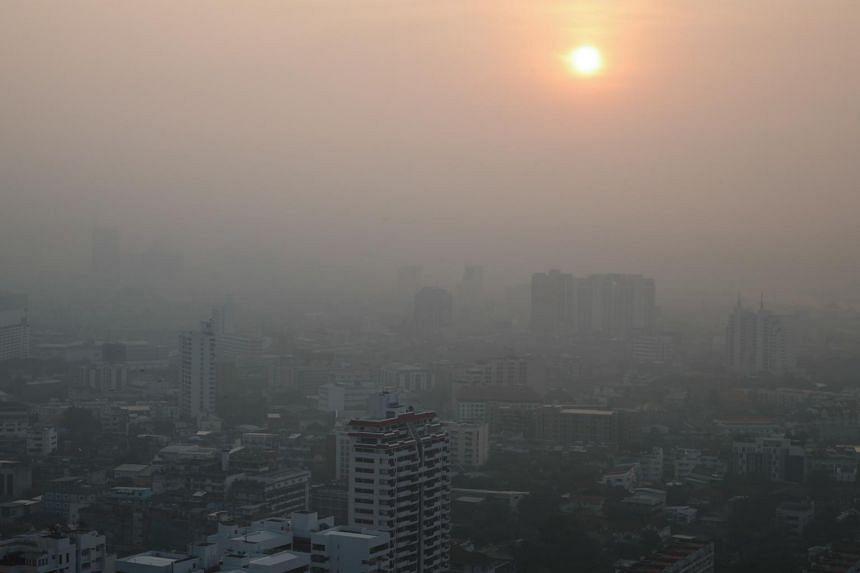 Heavy smog lingers over Bangkok, Thailand, on Jan 12, 2019.