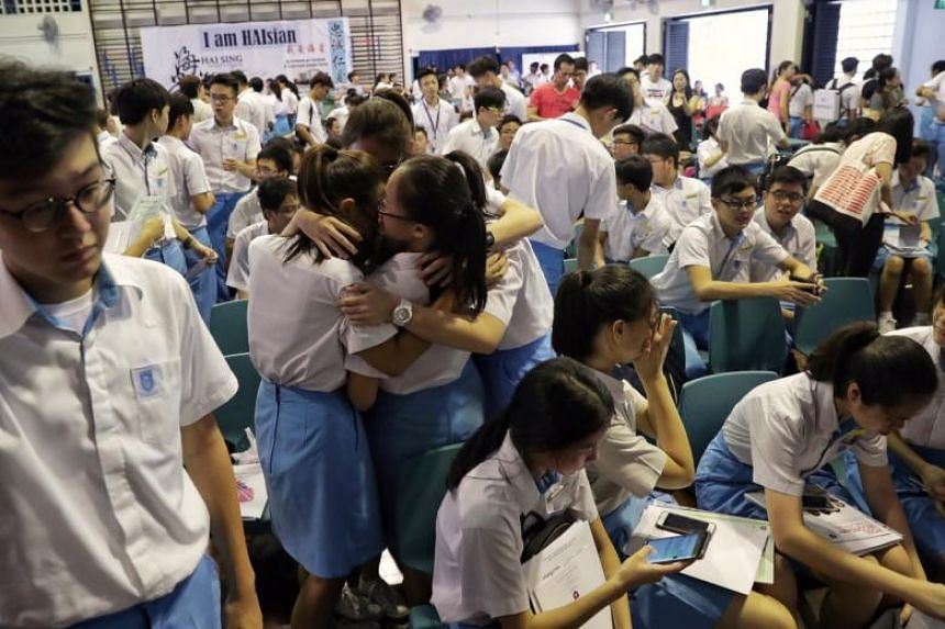 Hai Sing Catholic School students reacting as they collect their O Level results in the school hall on Jan 14, 2019.