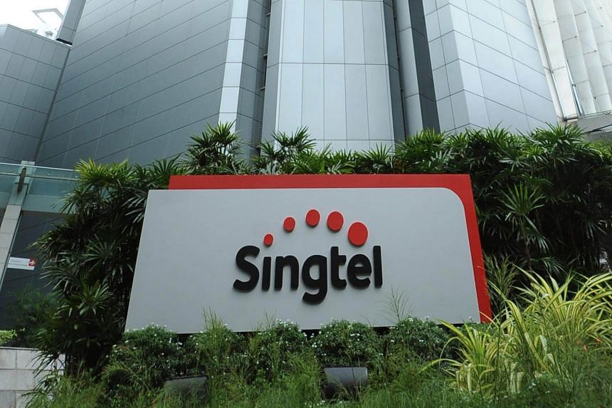 The Singtel logo outside its building in Exeter Road.