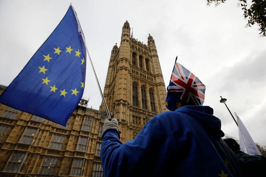 Anti-Brexit supporters hold placards and flags as they demonstrate outside the Houses of Parliament on Jan 14, 2019.