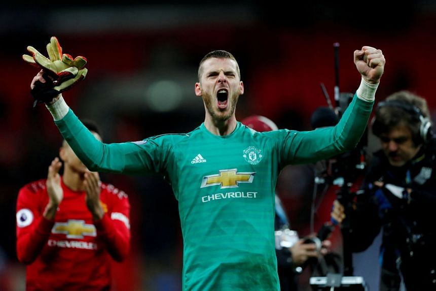 Manchester United's David de Gea celebrates at the end of the match between Tottenham Hotspur and Manchester United at Wembley Stadium in London on Jan 13, 2019.
