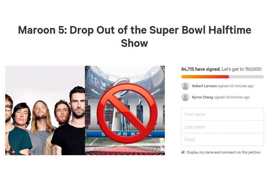 Maroon 5, whose participation had been speculated for months, had been lobbied to pull out. An online petition, at change.org, had nearly 85,000 signatures as of Jan 13, 2019.