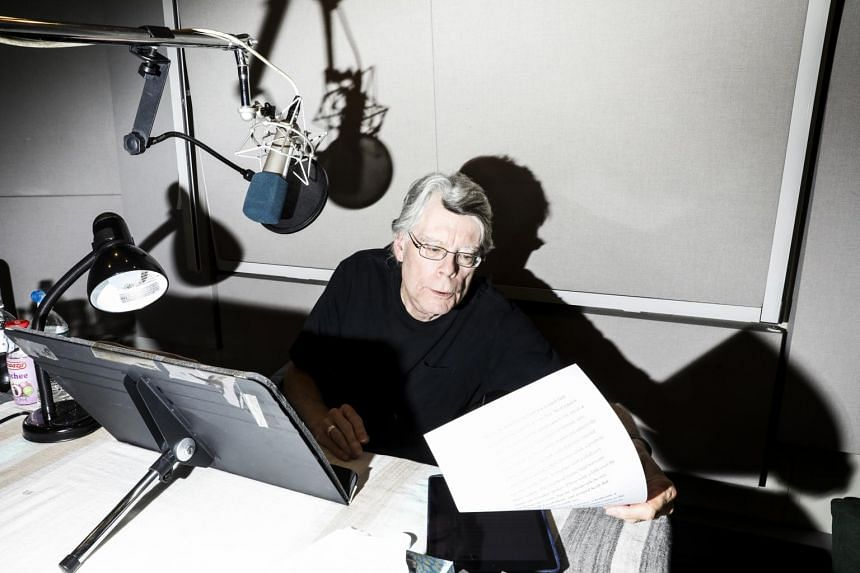 Author Stephen King recording an audio book in New York, on July 26, 2018.