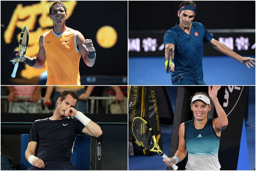 (Clockwise from top left) Rafael Nadal, Roger Federer and Caroline Wozniacki are through to the second round, while Andy Murray fought to the end before losing an epic Australian Open farewell match.