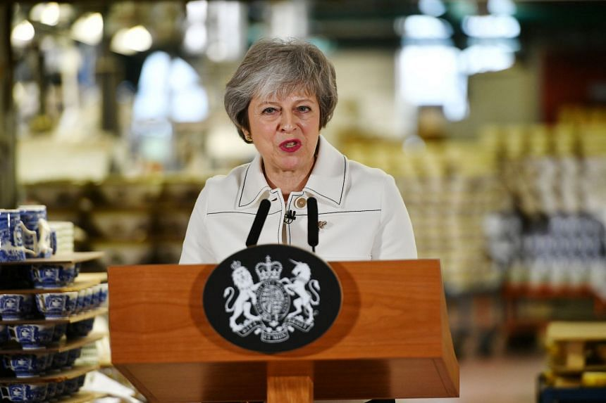 British Prime Minister Theresa May used a speech at a china factory in the leave-supporting city of Stoke-on-Trent to say that lawmakers blocking Brexit altogether was now a more likely outcome than Britain leaving without a deal.