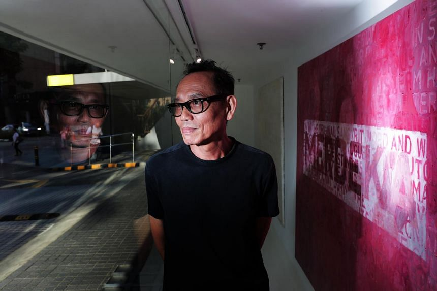Artist Vincent Leow with his oil on canvas work MERDE-KA (2018) at iPreciation gallery in Cuscaden Road.