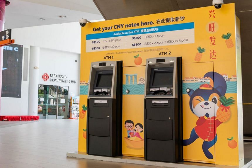The temporary ATMs, which were introduced in 2015 in partnership with the People's Association, will be available till the eve of Chinese New Year on Feb 4 at 20 community clubs islandwide.