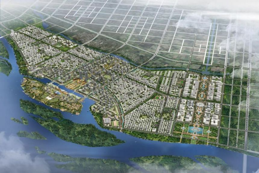 An artist's impression of the aerial view of Amaravati City in Andhra Pradesh, along the River Krishna waterfront.