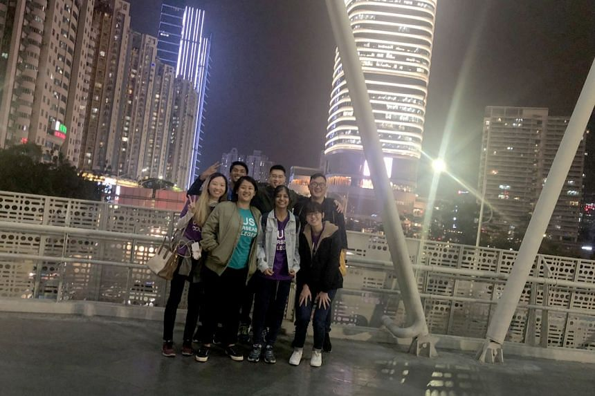 In Shenzhen for the NUS Overseas Colleges programme are students (front row, from left) Chen Kai Yue; Fatim Mohrini Ahmad Mohri; Rohini Subramanian; Helen Tan Meng Zhen; and (back row from left) Aaron Ramzeen and Lim Heng Guang; and programme manager