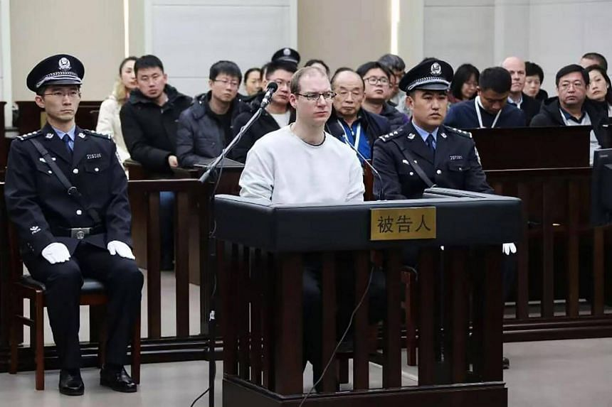 Canadian Robert Lloyd Schellenberg during his retrial on drug trafficking charges in a court in Dalian, China, on Jan 14, 2019.