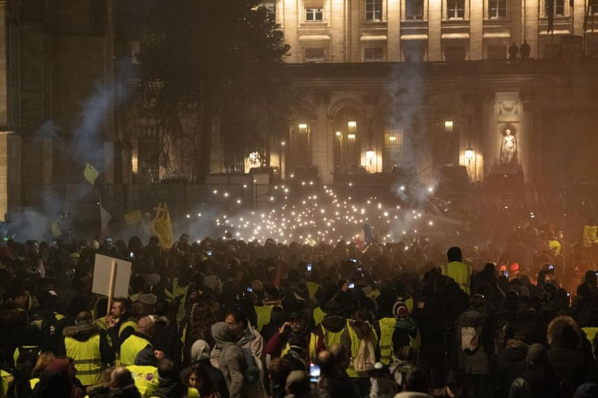 Yellow Vests protesters take part in the Act IX demonstration, or the ninth consecutive national protest on a Saturday in Bordeaux, France, on Jan 12, 2019.