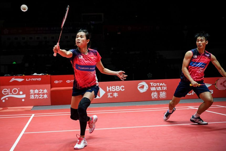Malaysia's Goh Liu Ying (left) and Chan Peng Soon at the 2018 BWF World Tour mixed doubles Finals badminton competition in Guangzhou, China, on Dec 14, 2018.