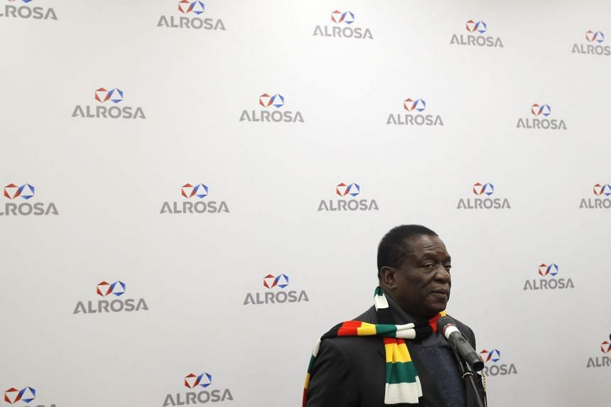 Zimbabwean President Emmerson Mnangagwa attends a meeting in Moscow, Russia, on Jan 14, 2019.