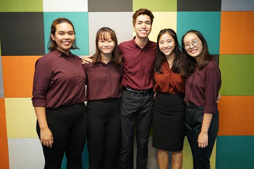 A survey by a team of Singapore Polytechnic students, comprising (from left) Nur Khairiyah, Tracey Ang, Muhammad Farhan, Melissa Anne Lim and Sammi Poo, showed that those who preferred social media as their choice of Internet platform for news achiev