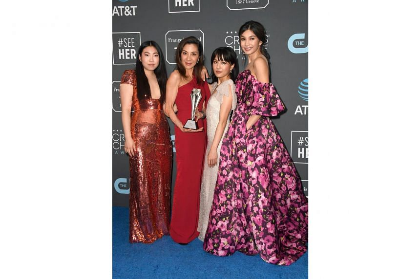 (Above from left) Awkwafina, Michelle Yeoh, Constance Wu and Gemma Chan of Crazy Rich Asians, which clinched the Best Comedy Movie award at the 24th annual Critics' Choice Awards on Sunday.