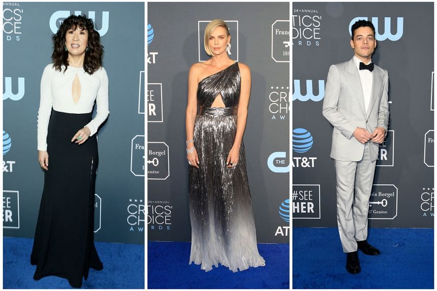 Attending the Critics' Choice Awards in California are stars including (from left) Sandra Oh, Charlize Theron and Rami Malek.