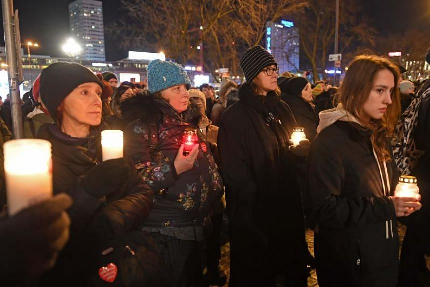 "Thousands of people gather in Warsaw under the slogan ""Stop Hatred"" on Jan 14, 2019, to protest against violence and honour Pawel Adamowicz, the late mayor of Polish port city Gdansk, who died after being stabbed in the heart by a young man at a week"