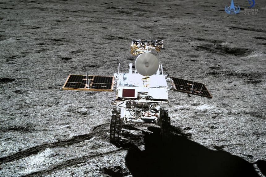 The lunar rover Yutu-2, or Jade Rabbit 2, taken with the Chang'e 4 lander's terrain camera on the far side of the moon on Jan 11, 2019.