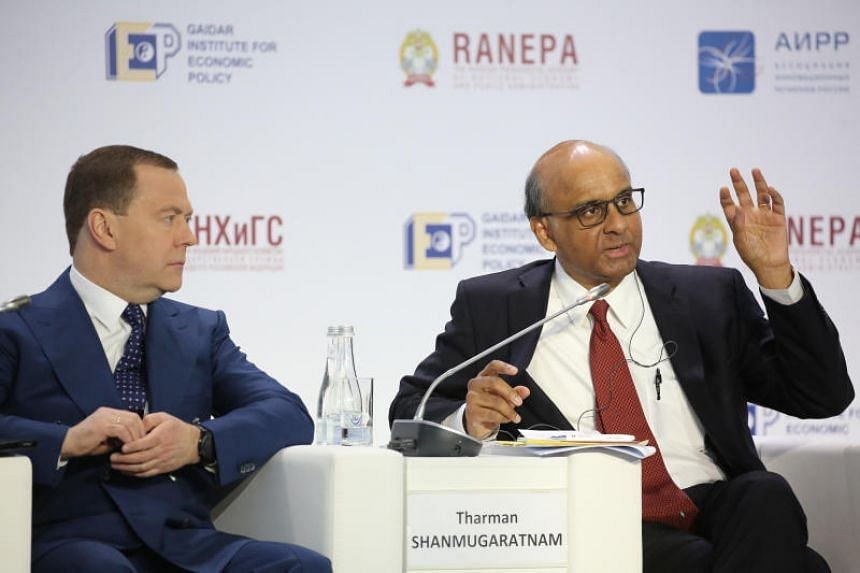 Deputy Prime Minister Tharman Shanmugaratnam speaks during a forum discussion with Russian Prime Minister Dmitry Medvedev in Moscow on Jan 15, 2019.
