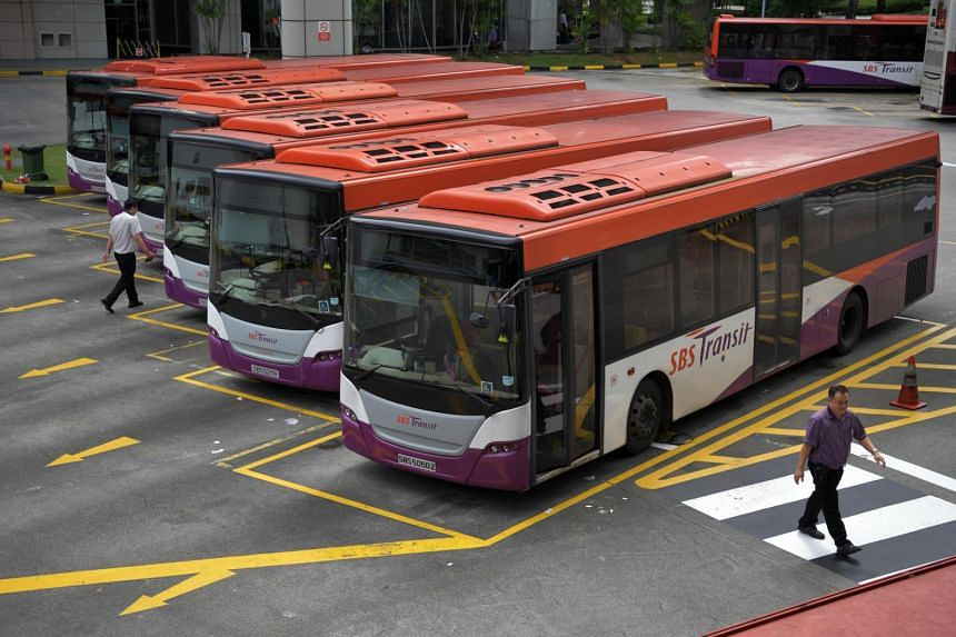 SBS Transit bus captains at the Toa Payoh interchange on Jan 26, 2017.