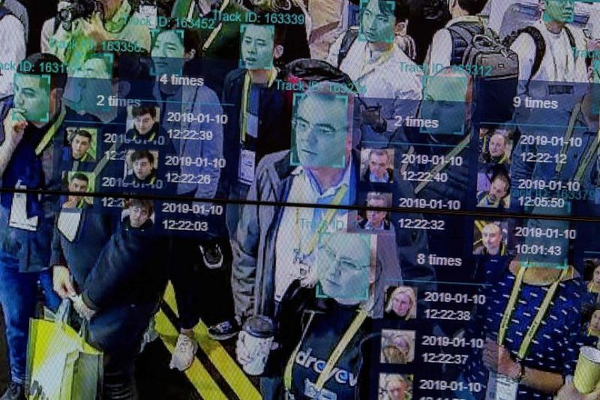 A live demonstration uses artificial intelligence and facial recognition in dense crowd spatial-temporal technology at the Horizon Robotics exhibit at the Las Vegas Convention Center during CES 2019 in Las Vegas on Jan 10, 2019.