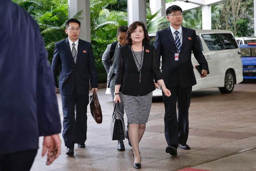 A file photo taken on June 11, 2018, shows North Korean Vice-Minister of Foreign Affairs Choe Son Hui (centre) arriving at The Ritz-Carlton Millenia Singapore. Ms Choe's trip to Sweden comes as expectations grow for a second meeting between North Kor