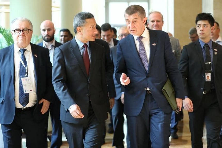 Foreign Minister Vivian Balakrishnan and Czech Republic Prime Minister Andrej Babis arriving for the Singapore-Czech Republic Business Forum at The Ritz-Carlton, Millenia Singapore, on Jan 15, 2019.