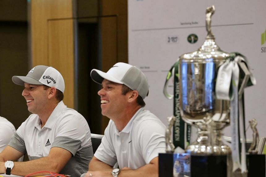 Sergio Garcia of Spain (left) and Paul Casey of England speaking to the media during a press conference for the SMBC Singapore Open at Serapong Course in Sentosa on Jan 15, 2019.