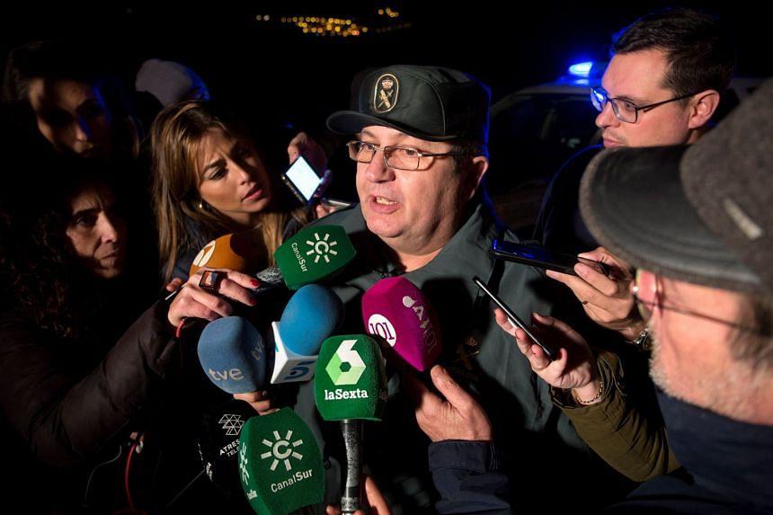 Spanish Civil Guard spokesman Bernardo Molto briefs the media on the rescue's progress.