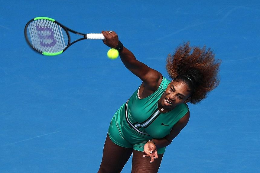 Serena Williams serving to Tatjana Maria during her first-round victory at the Australian Open. The American caught the eye with her bright green outfit, as well as her swift dispatching of her 31-year-old German opponent in straight sets 6-0, 6-2.