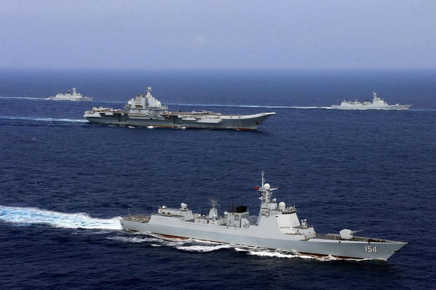 China's aircraft carrier Liaoning takes part in a military drill in the western Pacific Ocean on April 18, 2018.