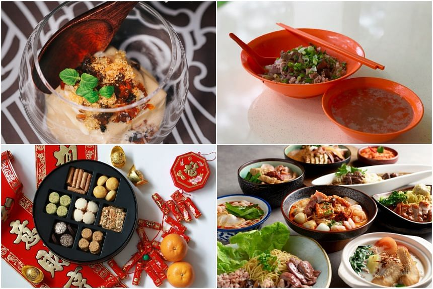 (Clockwise from top left) Ming Dynasty Tofu at Chi Kinjo, Lai Heng bak chor mee, the international buffet spread at The Orchard Cafe and CNY snacks by Janice Wong.