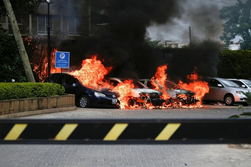 Kenyan police chief Joseph Boinnet said the attack began with an explosion targeting cars outside a bank followed by a detonation from a suicide bomber in the hotel lobby.