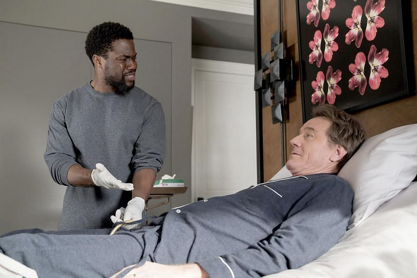 Stills from The Upside, a remake of a 2012 French comedy-drama, starring Kevin Hart (left) and Bryan Cranston.