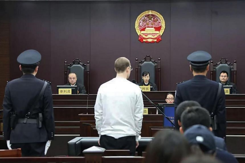 Canadian Robert Lloyd Schellenberg in court for his retrial on drug trafficking charges in Dalian China, on Jan 14, 2019.
