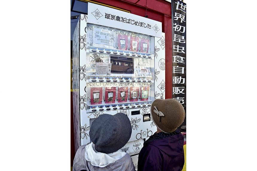 About 10 insect snacks are available in a new vending machine in Kumamoto, Japan. The cheapest one is a protein bar at 700 yen (S$8.75), which contains powdered crickets.