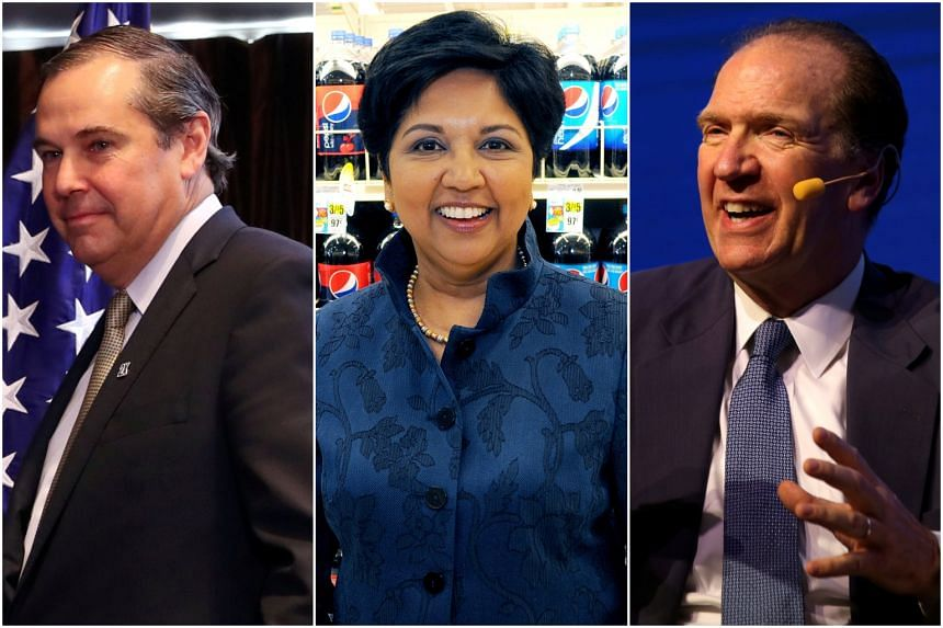 Candidates to head the World Bank include (from left) Overseas Private Investment Corp CEO Ray Washburne, former PepsiCo CEO Indra Nooyi, and Treasury Department official David Malpass.