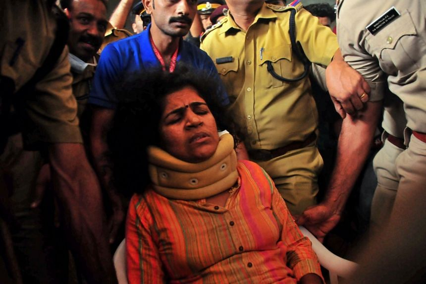 One of the two women who made it into Sabarimala temple, Kanakadurga (above), 39, was admitted to hospital after saying she had been assaulted by her enraged mother-in-law with a stick.