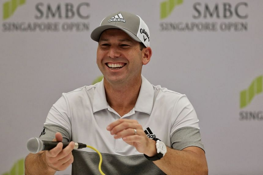 Defending champion Sergio Garcia during a press conference for the SMBC Singapore Open at Serapong Course in Sentosa on Jan 15, 2019.
