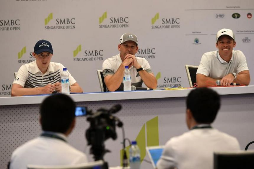 (From left) Matthew Fitzpatrick, Sergio Garcia of Spain and Paul Casey of England attend a press conference ahead of the Singapore Open golf tournament at Sentosa Golf Club in Singapore on Jan 15, 2019.