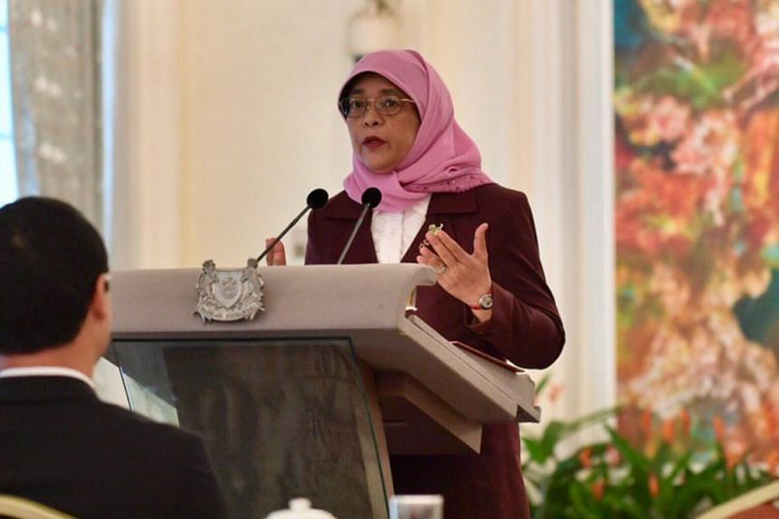 President Halimah Yacob delivering a speech at the Istana on Jan 16, 2019, as she announced the formation of a new council to get more women on the boards of organisations.