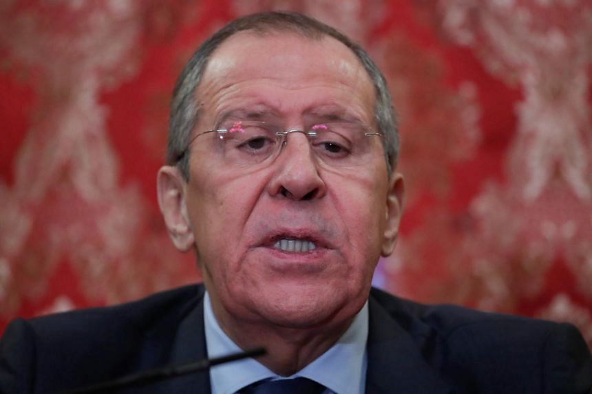 Russian Foreign Minister Sergei Lavrov speaks during a news conference following a meeting with his Japanese counterpart Taro Kono, in Moscow, Russia, on Jan 14, 2019.
