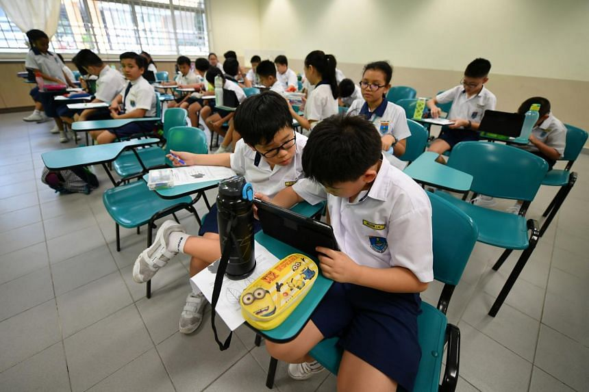 File photo showing students during a science lesson at a primary school in Singapore, on Oct 26, 2018.