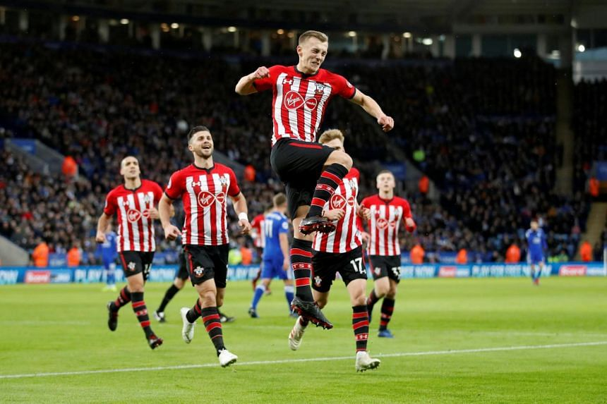 Southampton's James Ward-Prowse celebrates after scoring a goal against Leicester City, on Jan 12, 2019.