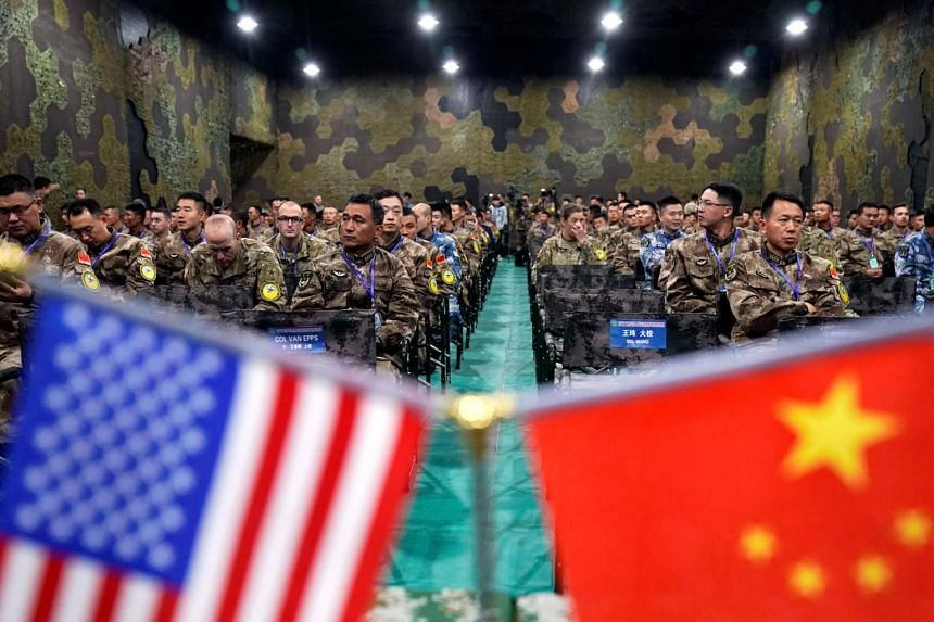 Military personnel of China and the US attend the closing ceremony of a disaster management exercise near Nanjing, Jiangsu province, China, on Nov 17, 2018.