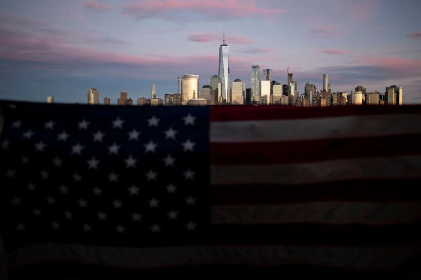 An American flag seen in front of the Manhattan skyline in New York City, on Jan 10, 2019.