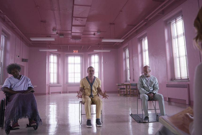 (Above, from left) Samuel L. Jackson, James McAvoy and Bruce Willis star in Glass, directed by M. Night Shyamalan.