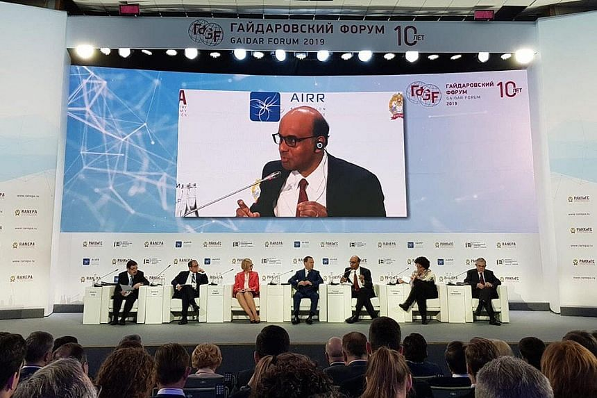Deputy Prime Minister Tharman Shanmugaratnam speaking at the 10th Gaidar Forum convened by the Russian Presidential Academy of National Economy and Public Administration.