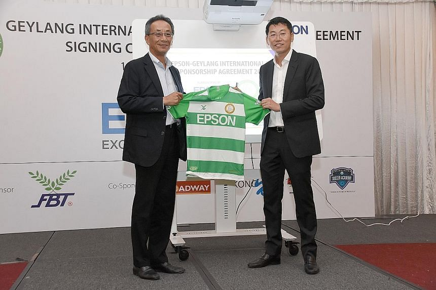 Japanese electronics company Epson has announced that it will sponsor Singapore Premier League football club Geylang International for a fourth consecutive year. The parties, led by Epson Singapore managing director Toshimitsu Tanaka (far left) and G